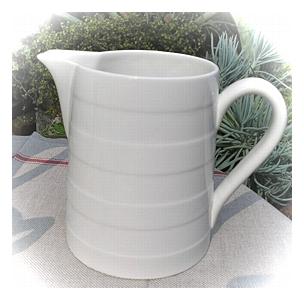 陶器、ガラス 倉敷意匠 ホワイト フープドジャグ [BT-11]
