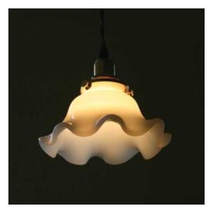 ライト、キャンドル Homestead ミルクガラスシェード ウェーブ [HL-01]